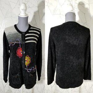 Moffi Black Terry Cloth Avant Garde Style Cardigan